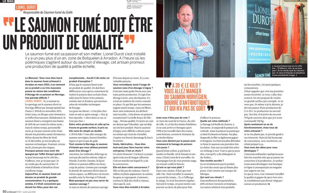 Article Le mensuel du Morbihan sur les saumons fumés Lionel Durot